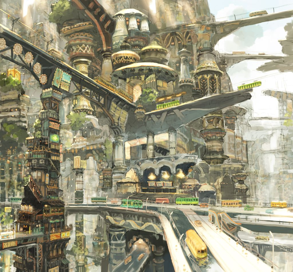 Fantasy city, multilevel roads and paths