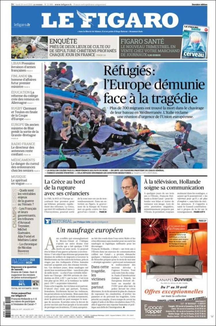 Une du Figaro 20/04/2015