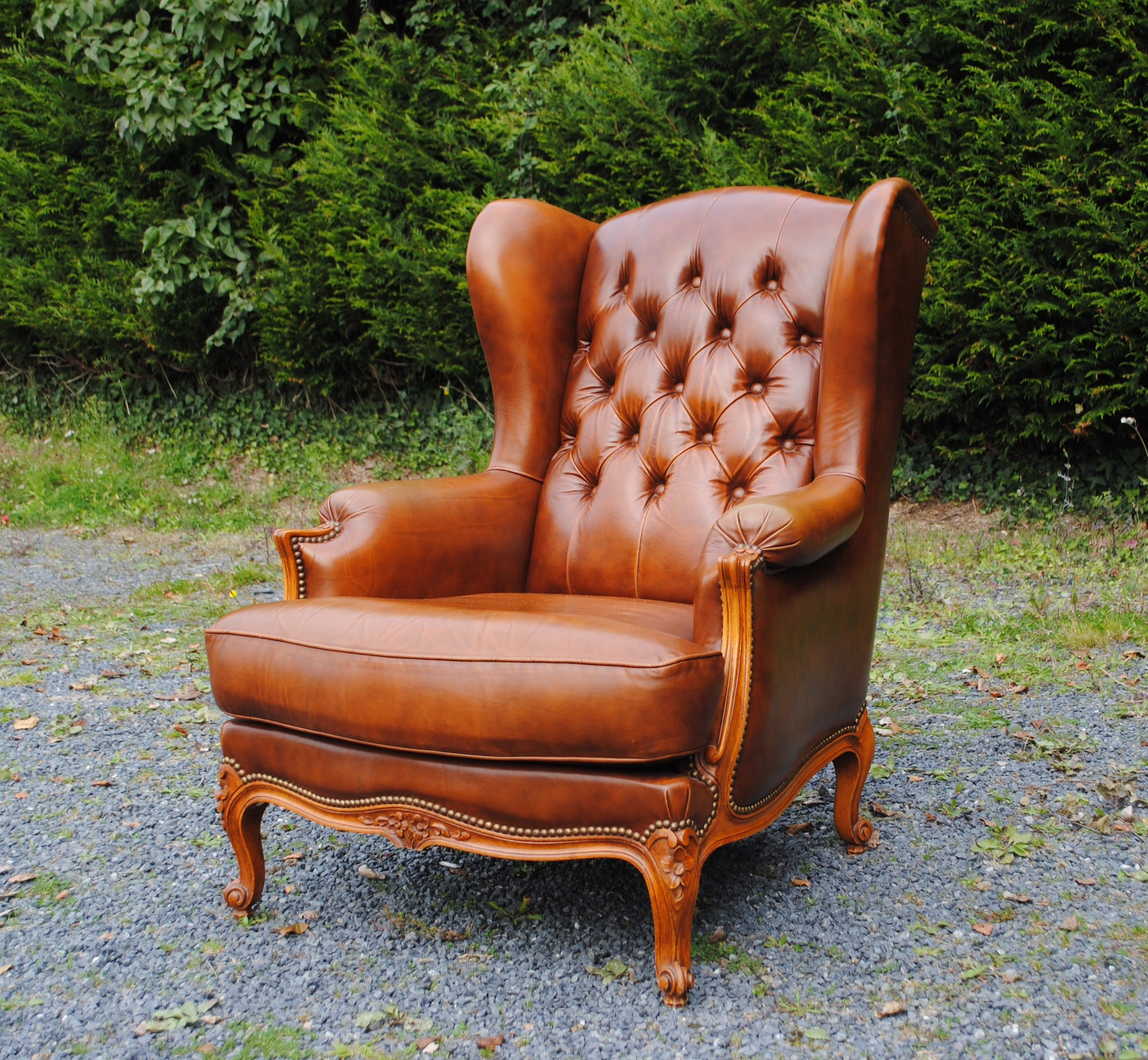 Vintage Louis Style Leather Chair in Cigar Brown Leather a