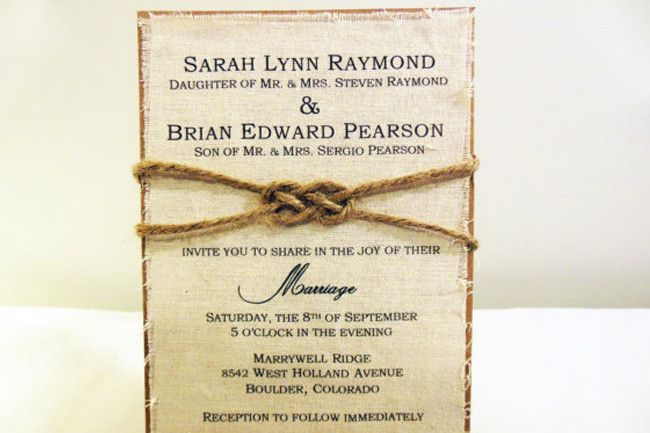 3 Fabric Wedding Invitations By Poshest Papers These Rustic Fabric
