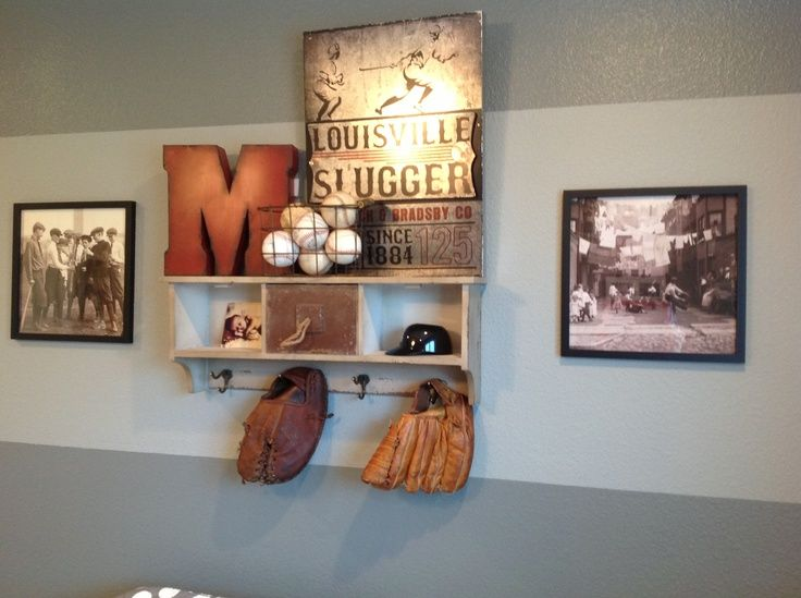 Boys Baseball Bedroom Ideas baseball room. shelf- homegoods. m and metal pic