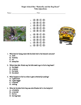 10 Multiple Choice Questions And Bubble Sheet To Go With The Magic