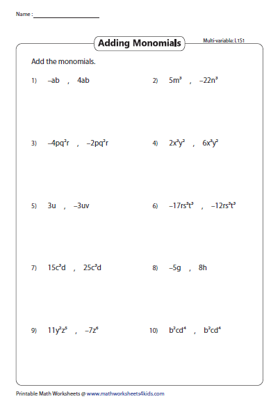 Adding Two Monomials Multivariable Ads Worksheets Teaching