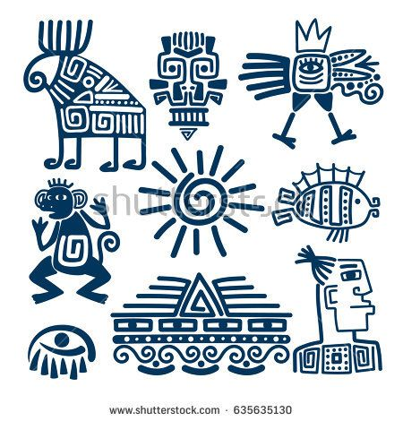 Maya Or Inca Style Blue Linear Totem Icons Aztec Ancient Symbols