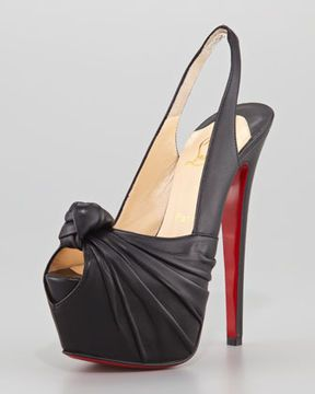 Christian Louboutin Miss Benin Leather Knotted Platform Red Sole Slingback, Black on shopstyle.com