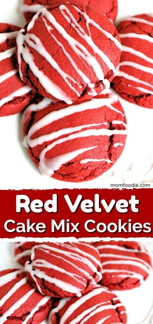 Red Velvet Cake Mix Cookies - Easy Holiday Cookies! #redvelvetcake