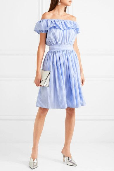 Off-the-shoulder Striped Cotton-poplin Midi Dress - Blue Miu Miu kcEwvU