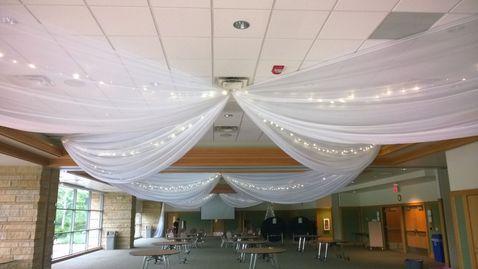 White Ceiling Drape At Eagan Community Center By Deckci Decor