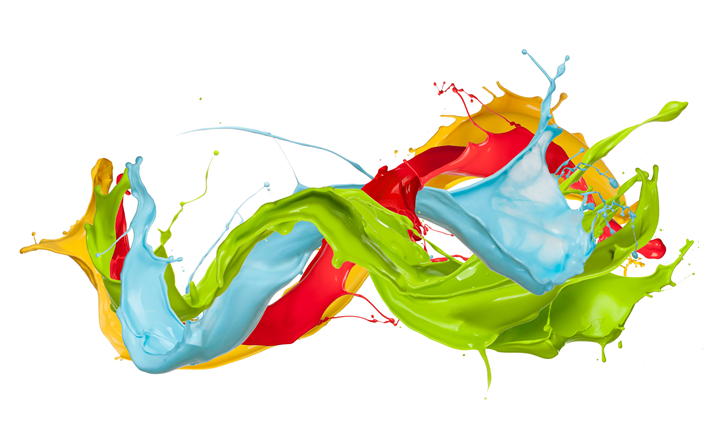 Download Wallpapers Paint Splashes Art 4k Multicolored Paints White Background Besthqwallpapers Com Paint Splash Abstract Shapes Free Wallpaper