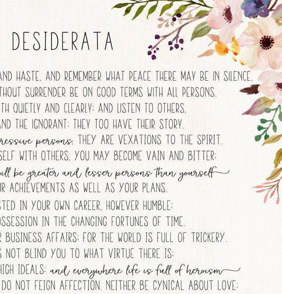 picture about Desiderata Printable titled Desiderata print - Max Ehrmann poem - Desiderata poster