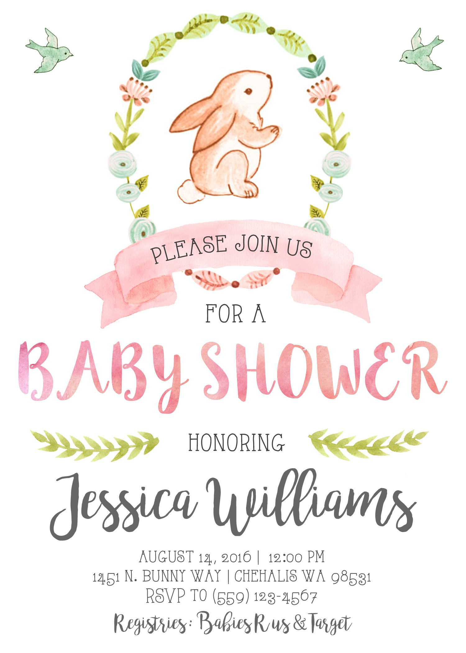 Bunny baby shower invitation invite our little bunny watercolor its bunny baby shower invitation invite our little bunny watercolor its a girl pink and gold shabby filmwisefo