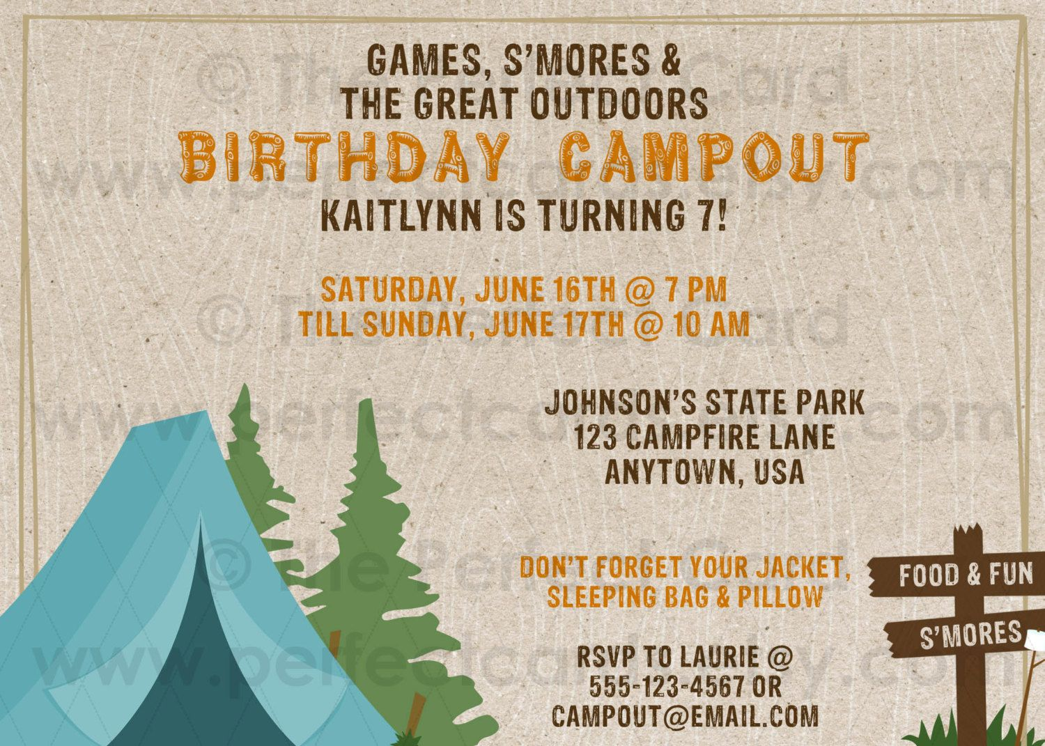 Campout / Camping Birthday Invitation | Camping theme wedding shower ...