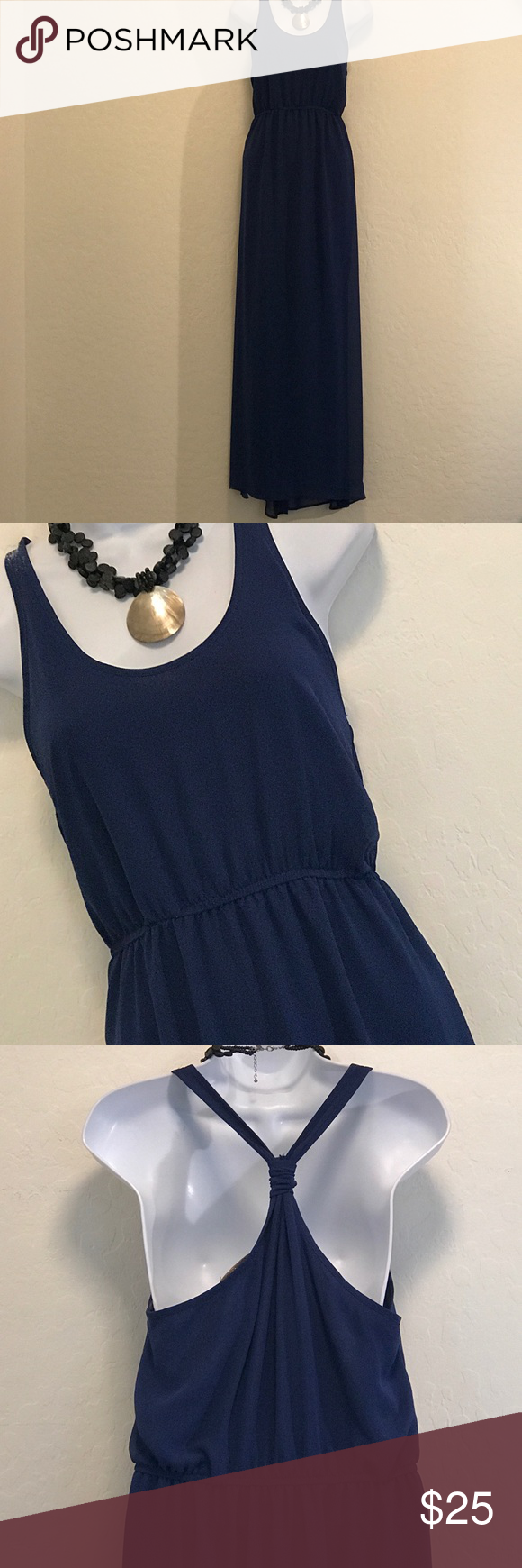 ⬇️Price Drop⬇️Dee Elle Blue Racerback Maxi Dress Excellent Condition, Elastic Waist, Sheer Dress, Lined Short Skirt underneath, Great Color, Long, Side Slit. Dresses Maxi