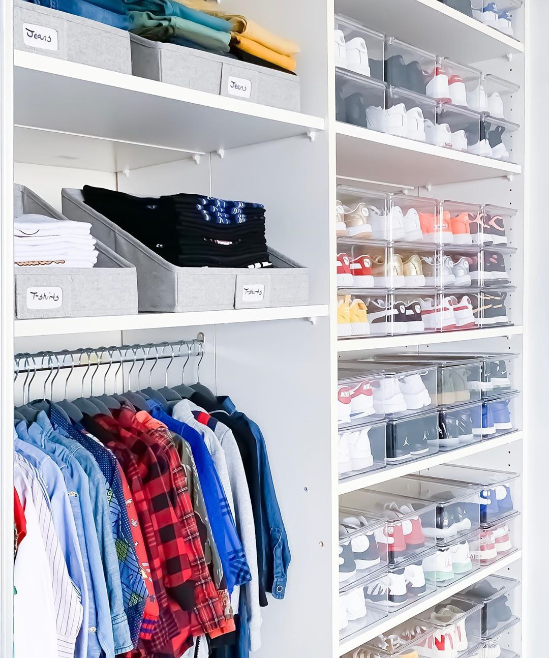The Project Neat On Instagram We Spent Our Day Revamping The Cutest Little Boys Closet Matching Ha Boys Closet Kids Closet Organization Closet Organization