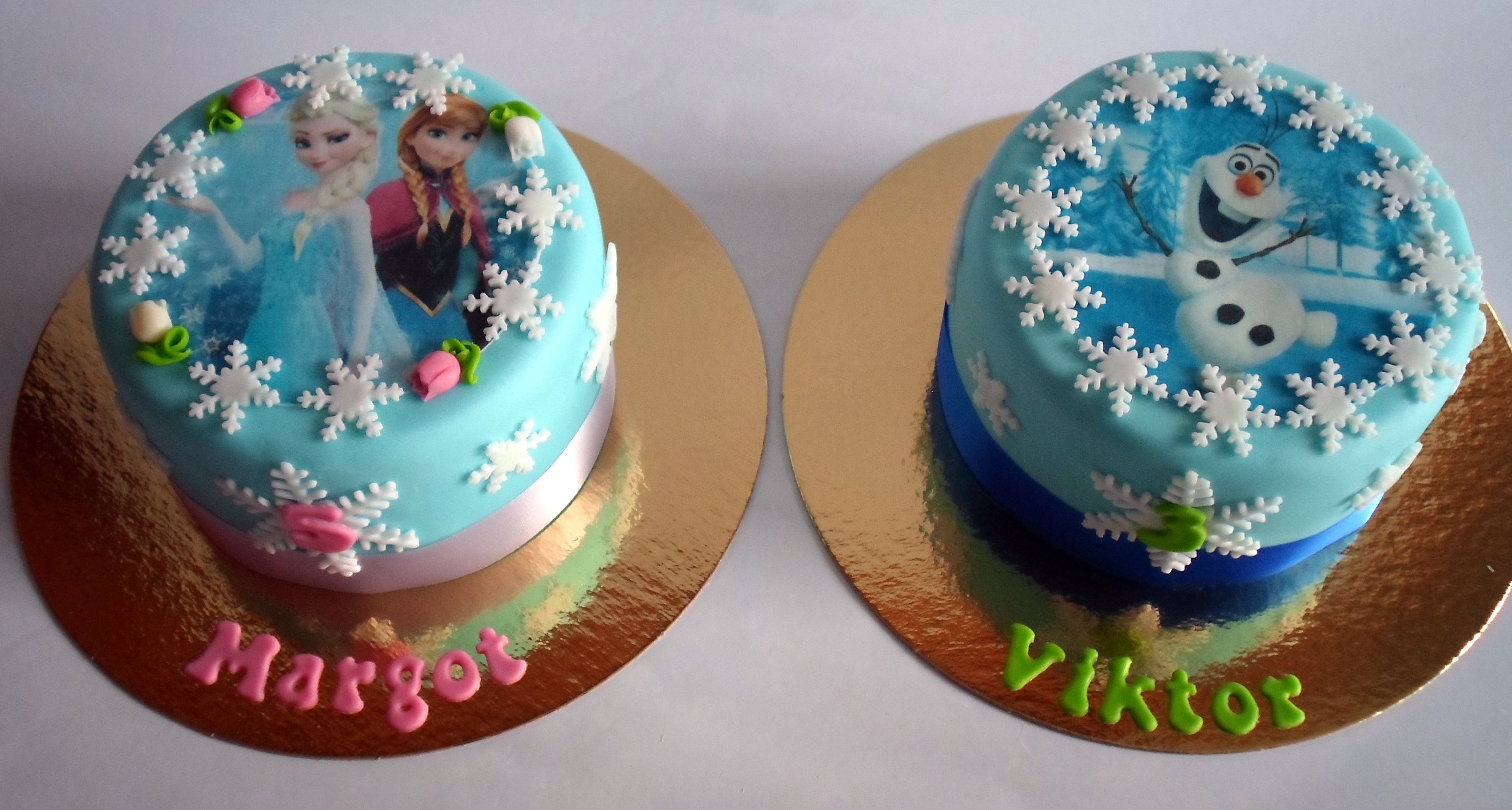 Brother and sister Frozen birthday cakes