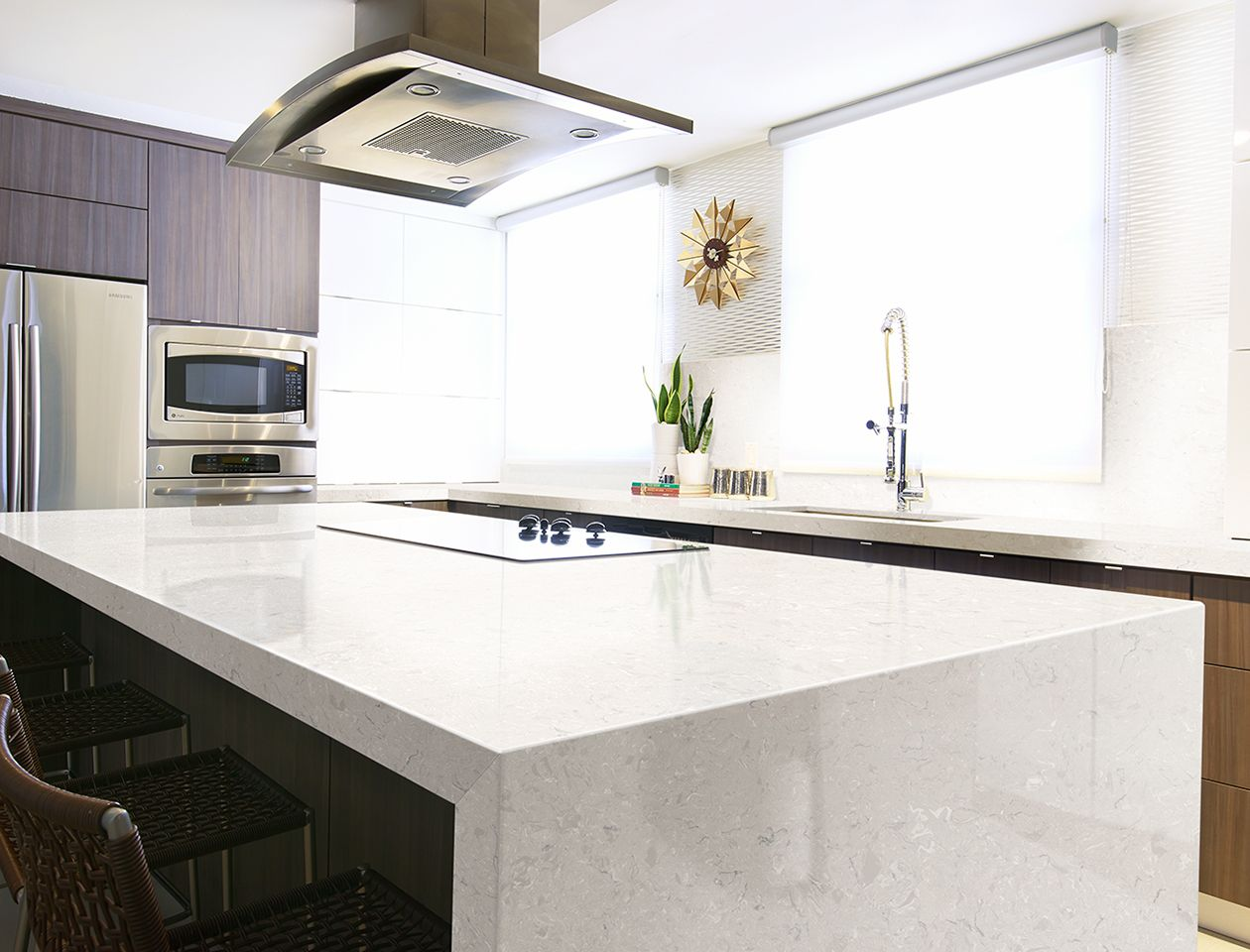 Minimalist Kitchen with Cambria Quartz Marble Collection, Weybourne ...