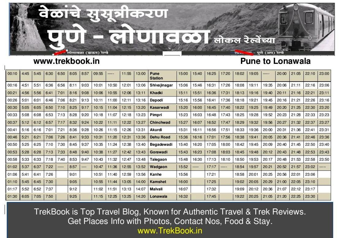 Pune lonavala local latest train time table free pdf download as well interesting picnic spots around each railway station from to also updated new timetable trek in rh pinterest