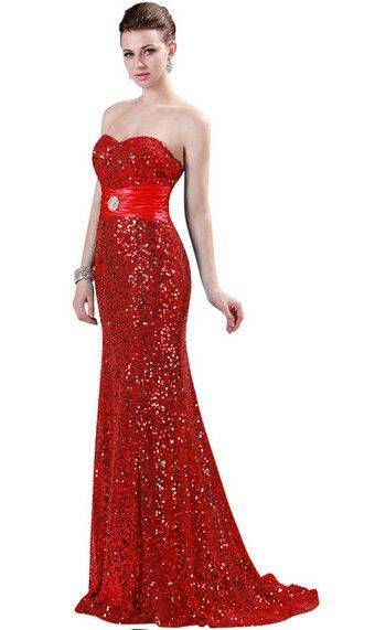 Grace Karin Mermaid Evening Dress Red Gold Sequin Strapless Luxury ...