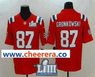 495a592a Men's New England Patriots #87 Rob Gronkowski Red 2019 Super Bowl LIII  Patch Vapor Untouchable Stitched NFL Nike Limited Jersey