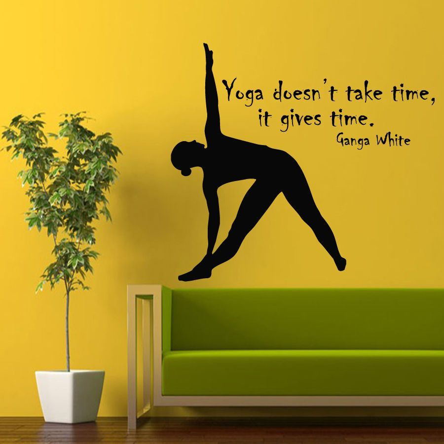 Wall Decals Sport Girl Quote Yoga Gives Time Vinyl Decal Sticker Gym ...