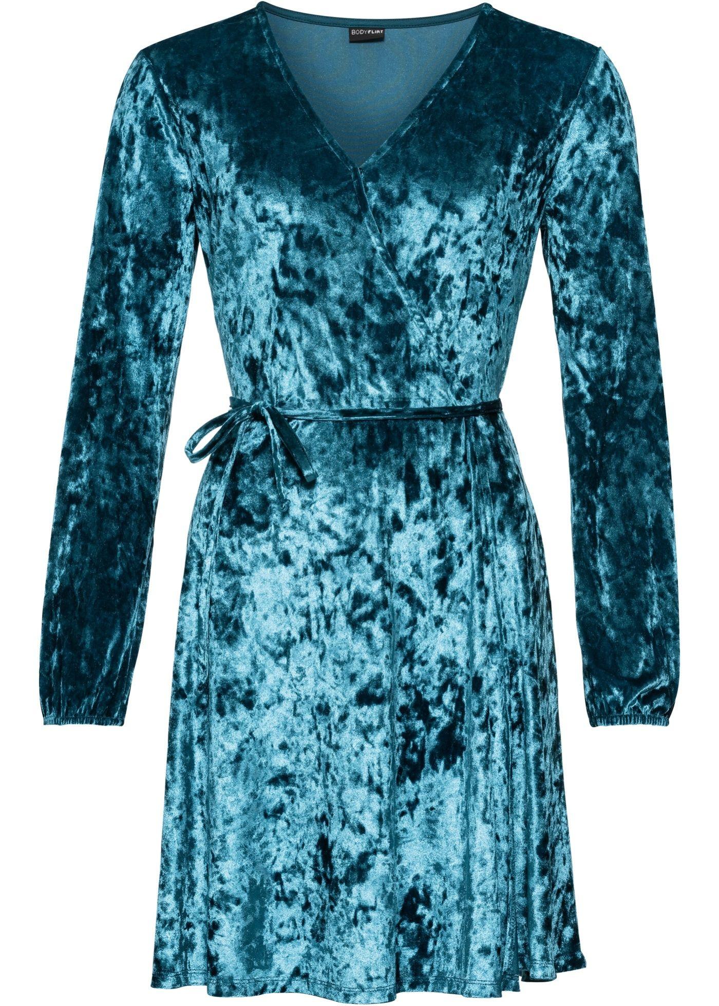 Samt Kleid in Wickeloptik | Sommer kleider, Schöne kleider