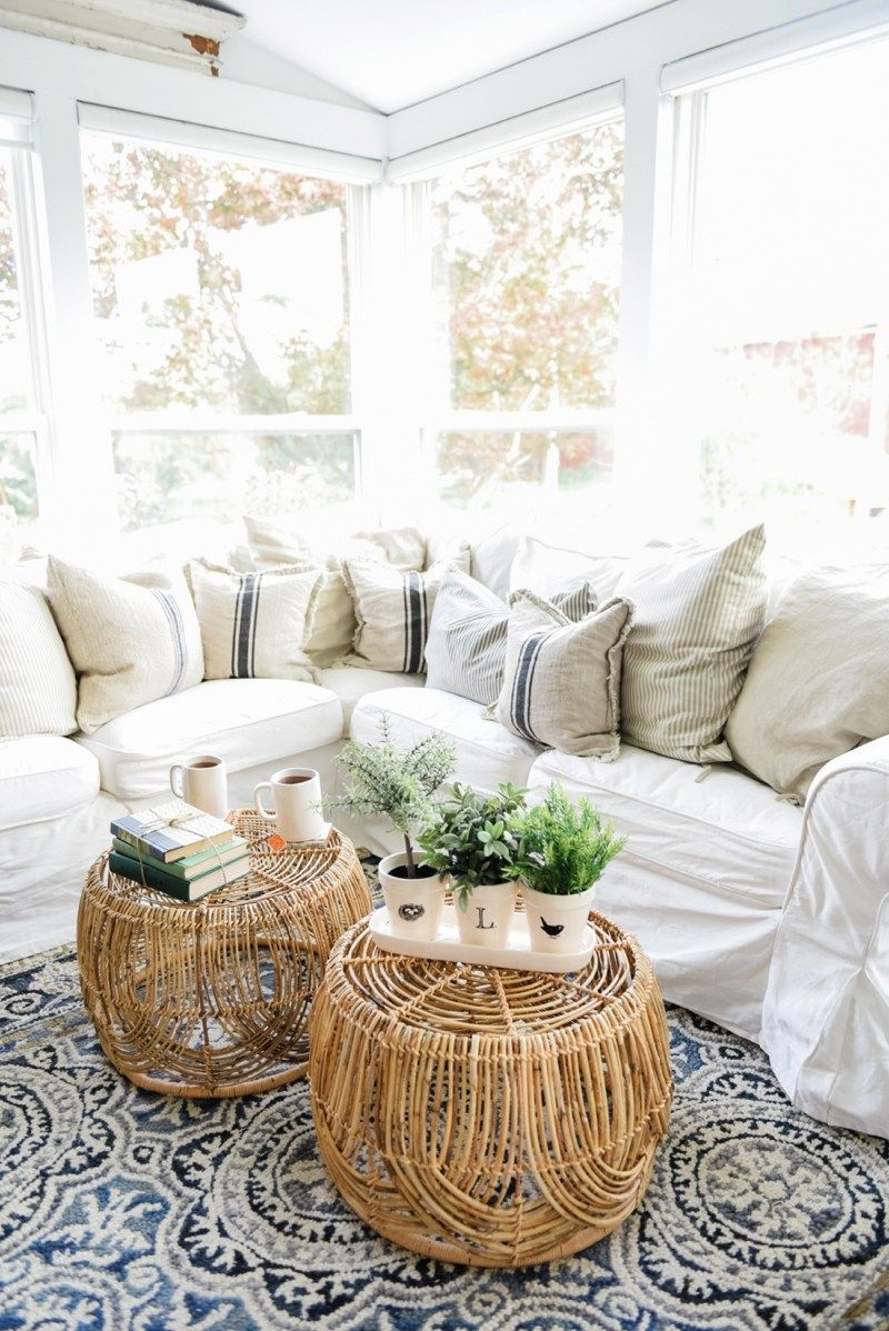 Wicker Coffee Table Sunroom Living Room Design by Liz Marie