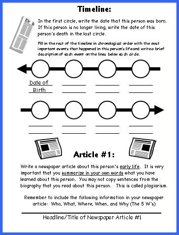 Biography book report newspaper templates worksheets and grading biography newspaper ibookread Read Online