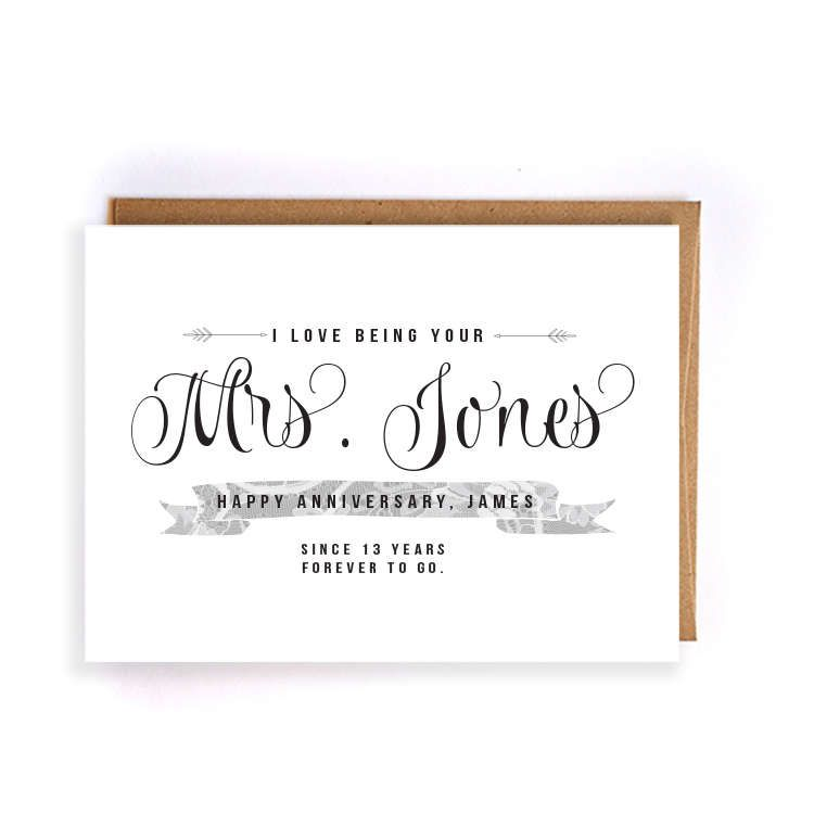 13th Wedding Anniversary Gift Ideas For Her: 13th Anniversary Cards For Him, Personalized Lace