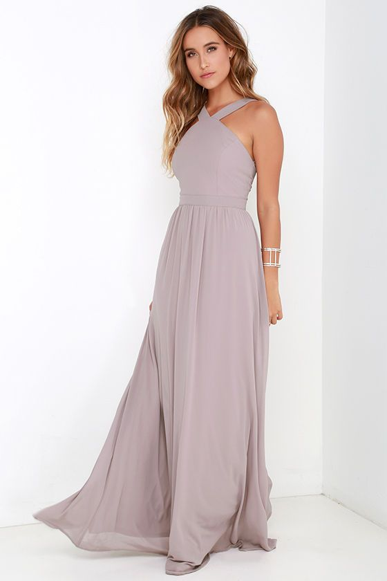 Air Of Romance Taupe Maxi Dress Taupe Maxi Dress Necklines For Dresses Beach Wedding Guest Dress