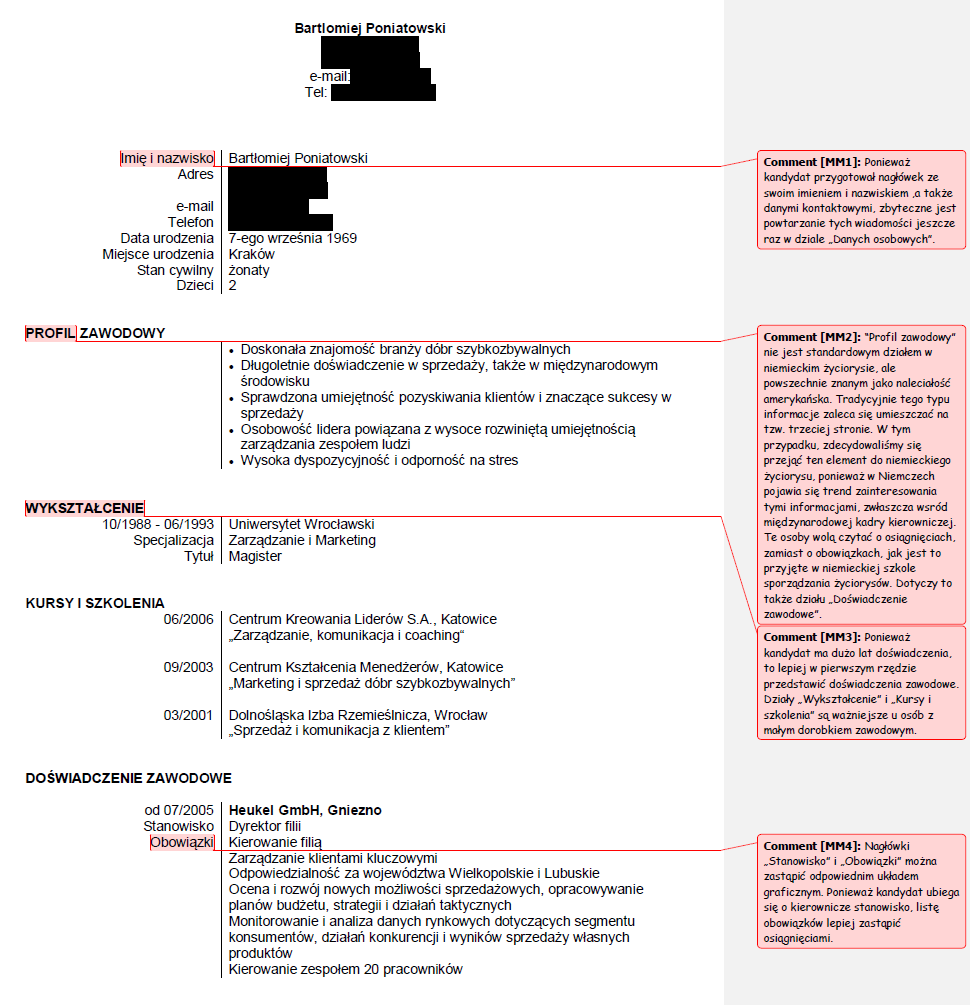 Curriculum Vitae W Jezyku Polskim Curriculum vitae, Plan