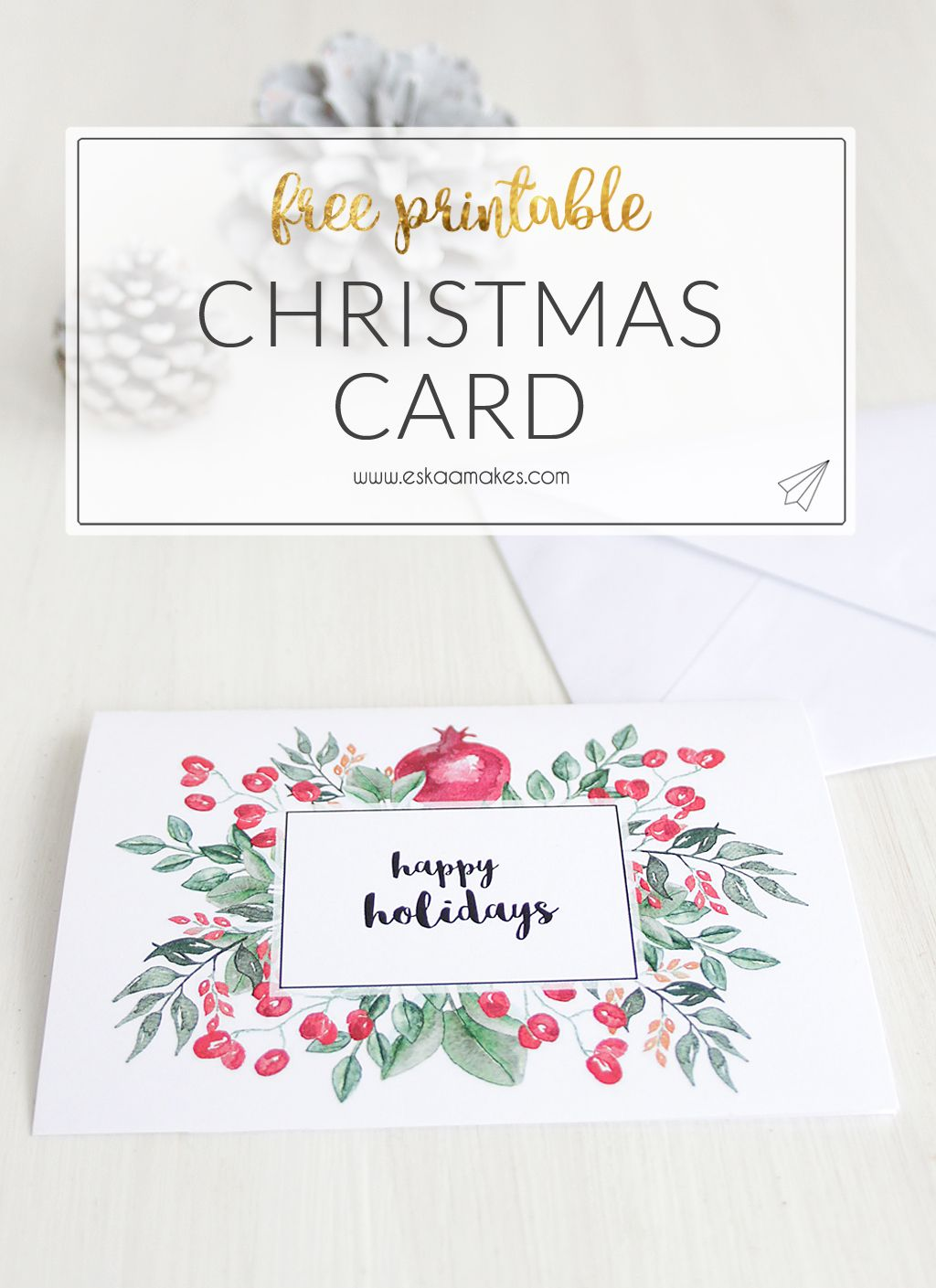 Free Printables Two Elegant Printable Christmas Cards Es Kaa Makes Printable Holiday Card Free Printable Holiday Cards Free Printable Christmas Cards