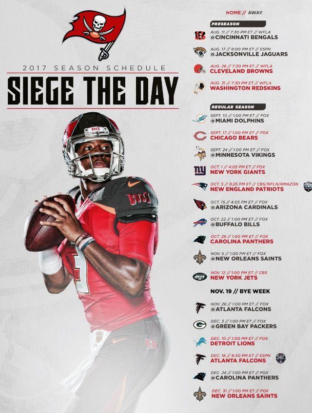 2017 Bucs Schedule Siege The Day Go Bucs Tampa Bay Buccaneers Cincinnati Bengals Tampa Bay