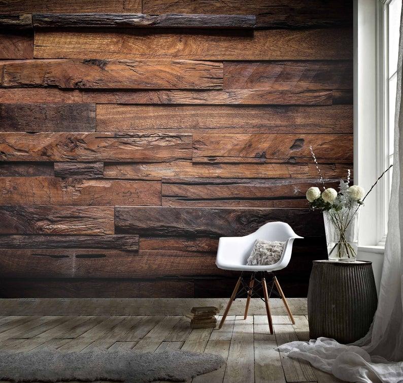 3D Rugged, Dark wood grain Wallpaper, Removable Self