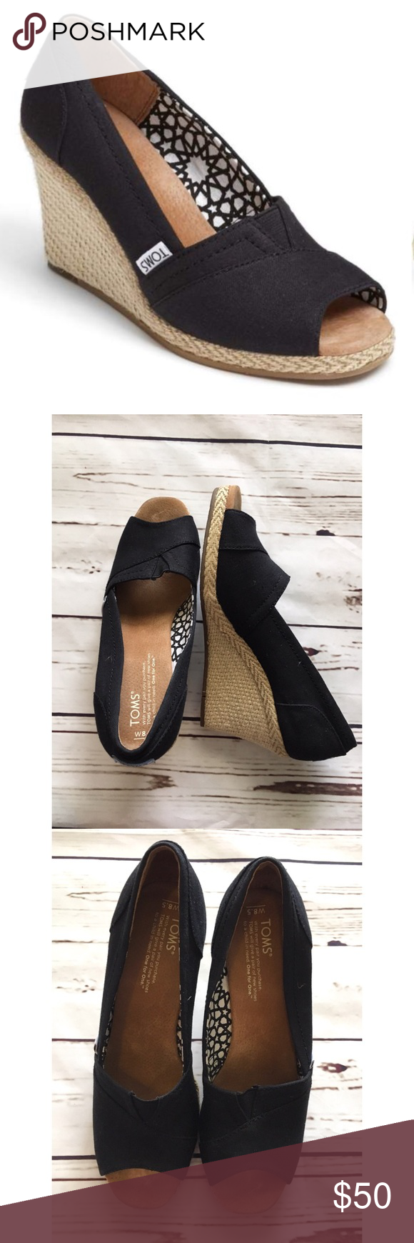 a1f755e268c TOMS calypso black canvas peep toe wedges size 8.5 Toms Calypso Wedge Black  Size 8.5 Woven trim accents the wrapped wedge heel of a summery open-toe  pump ...