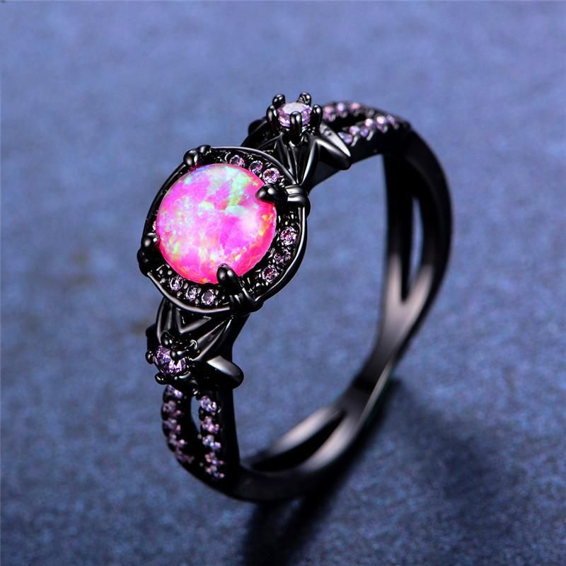 Pink Opal Flower Black Gold Ring With Pink Opal Black Gold Ring Gold Wedding Jewelry Black Gold Jewelry
