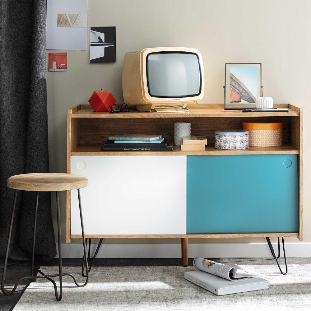 mieux aimé 1c69d ef30b Meuble TV vintage en bois blanc et bleu L 105 cm | 007 ...