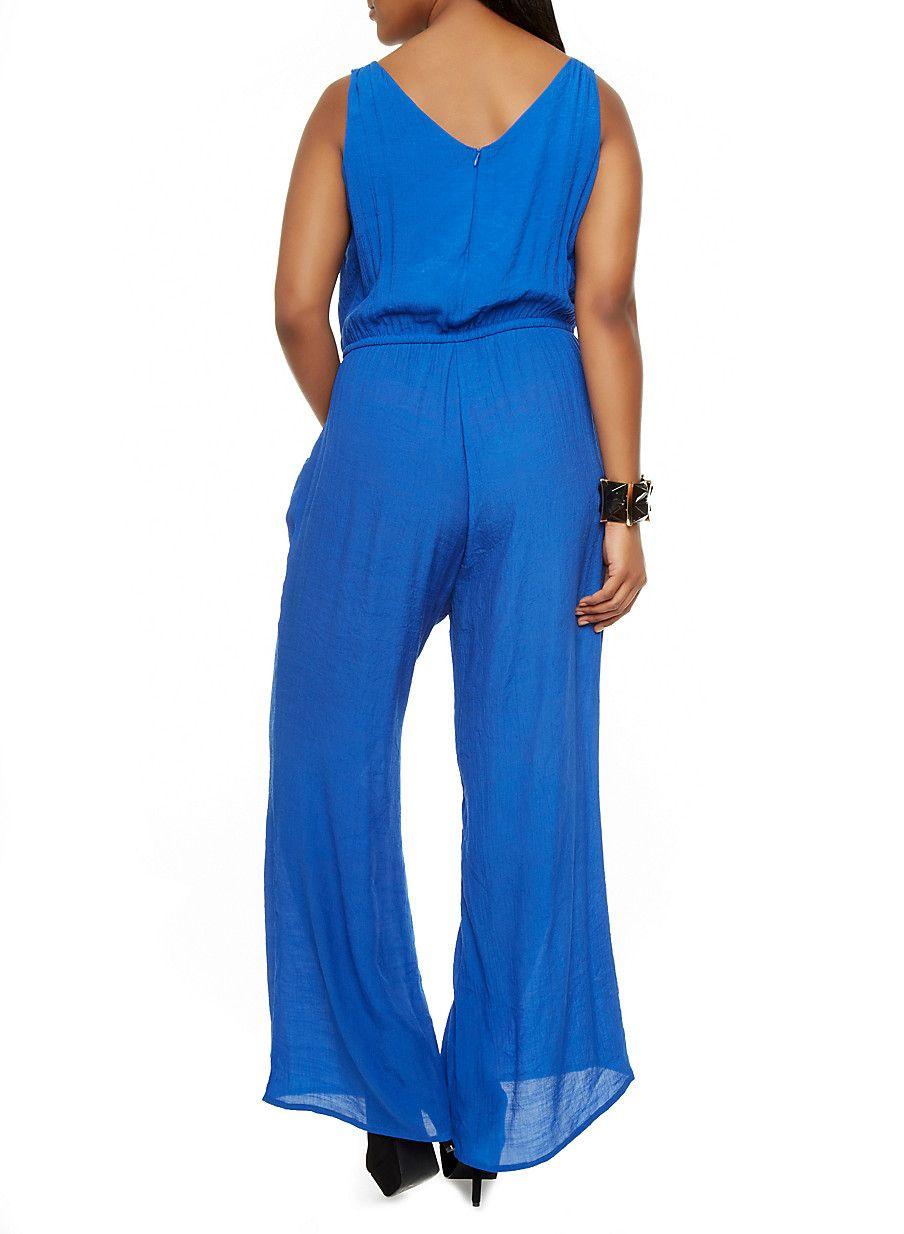 Plus Size Ruffle Front Wide Leg Jumpsuit - Rainbow - 0392051060492 ...