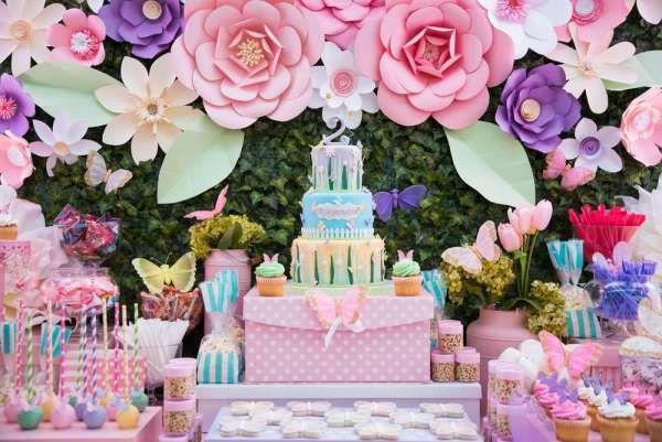 Incre ble fiesta de mariposas y flores fiestas tem ticas for Jardines decoraciones plantas