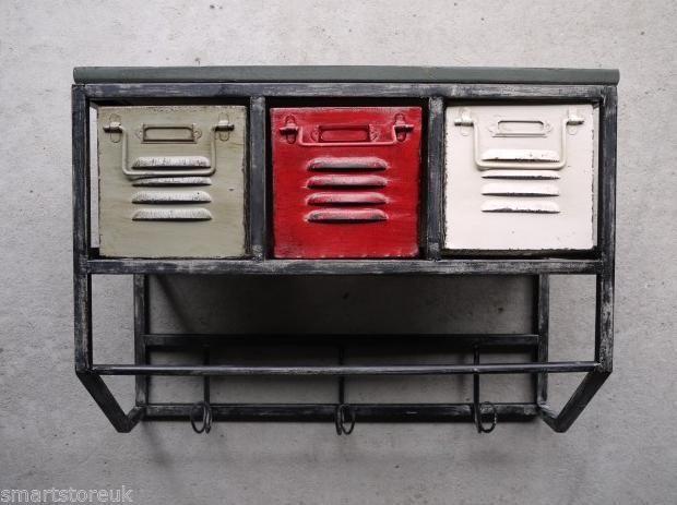 Urban Vintage Industrial Retro Style Metal Coat Hooks & Drawers (2584)