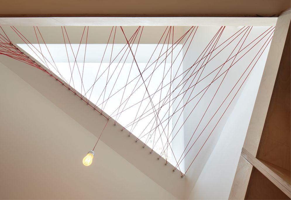 barandilla cierre escaleras doble altura red roja cuerda tensores