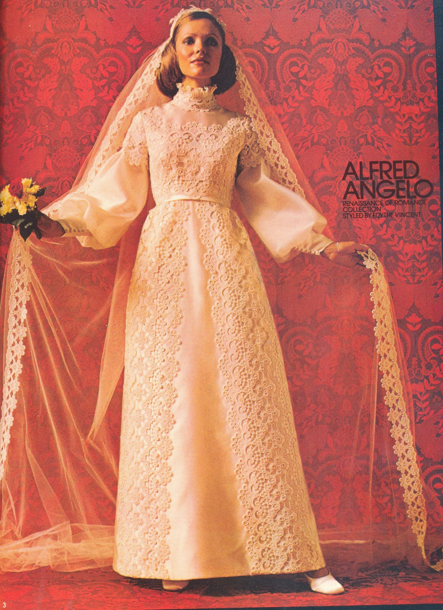 Alfred Angelo Renaissance of Romance collection styled by Edythe Vincent, August 1973, vintage designer fashion bride ad