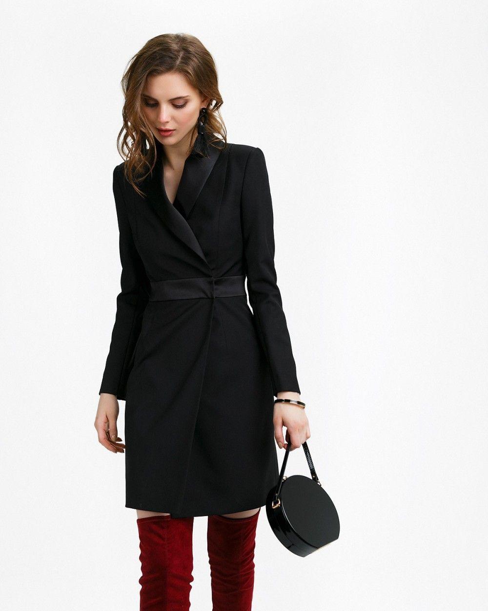 ffdd4d4a439 Платье-пиджак с атласным воротником арт. 181082-10666-5 ...