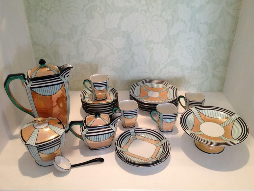 noritake art deco geometric lusterware coffee tea set 1920 1930 objets d coratifs articles. Black Bedroom Furniture Sets. Home Design Ideas