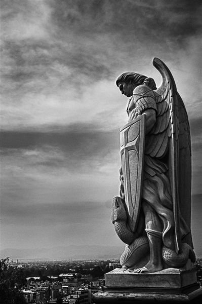 st michael at the basilica of our lady of guadalupe in mexico ar t chitecture in b w. Black Bedroom Furniture Sets. Home Design Ideas