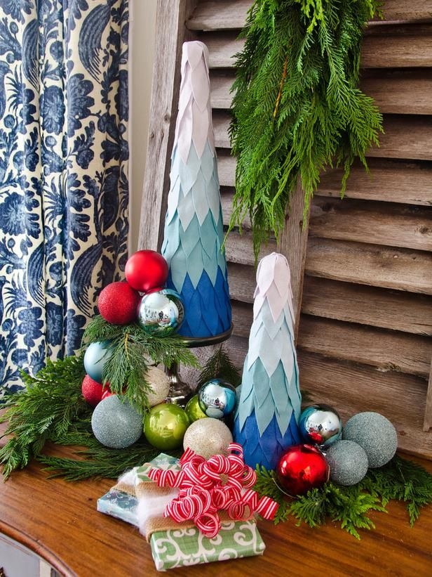 Ombre Tabletop Christmas Trees Ombre, Christmas tree and Felting