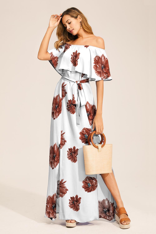 Schulterfrei Kurzarm Blumen Gedruckt Maxi Kleid Rot - CA Mode