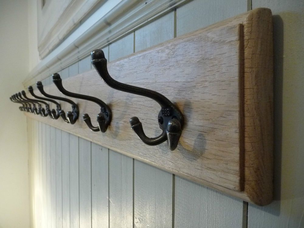 Wall Coat Hooks vintage style wooden coat rack, cast iron triple hooks, solid oak