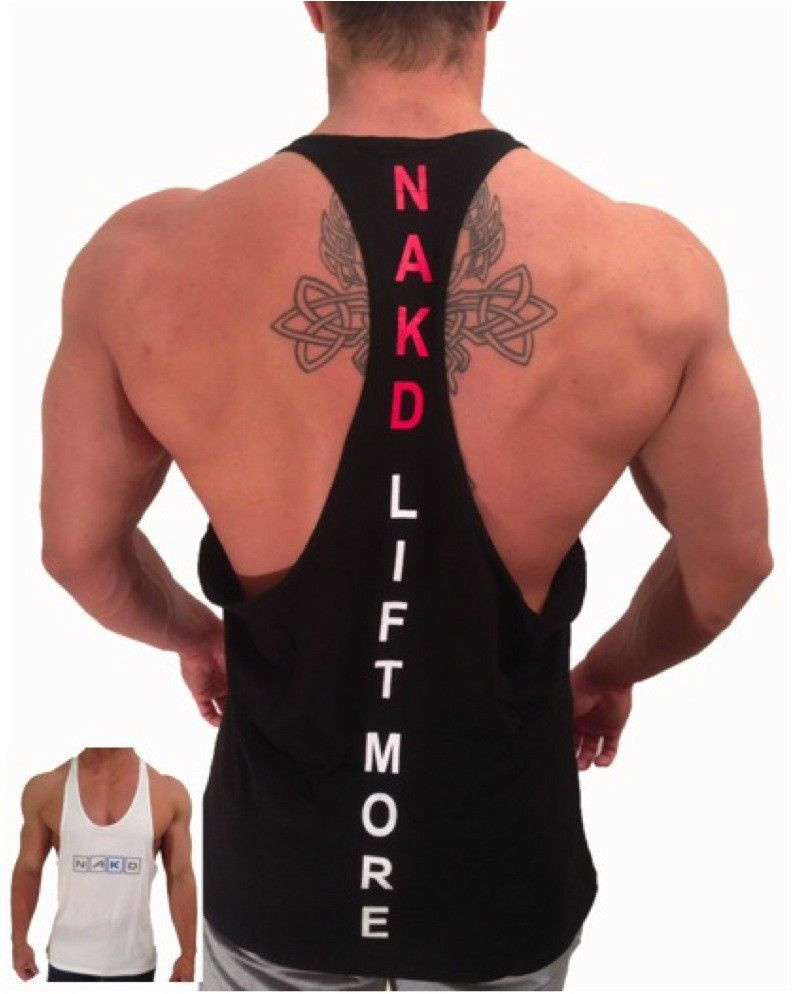 01fdb7fc NAKD Summer T BACK RACER BACK TANK TOP STRINGER, BODYBUILDING, MENS GYM  SINGLET #NAKD