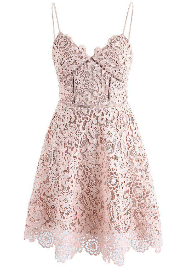 Flourish Like Flowers Crochet Cami Dress in Nude Pink