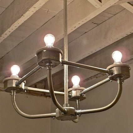C A R D I N A L Handcrafted Galvanized Metal Conduit 4 Light Chandelier 175 Hang Over Dining Room Table Cool Lighting Light Chandelier Lighting